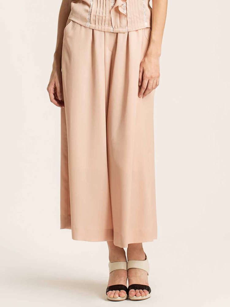 Shirred wide leg pants