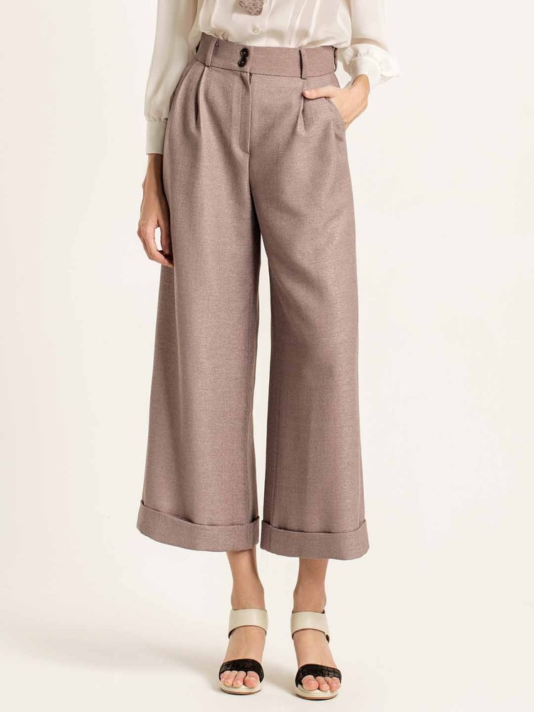 Cuffed wide-leg pants