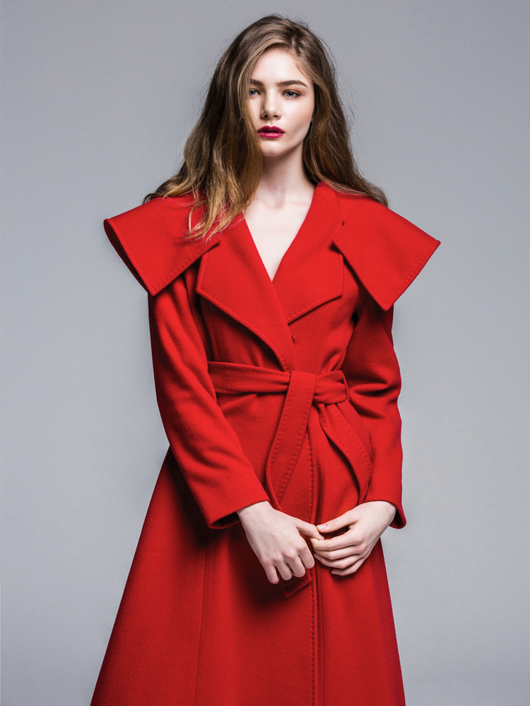 Wide Collar Wrap Red Coat